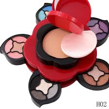1pcs flower design small multi layer rotating makeup eye shadow palette blush foundation powder makeup kit
