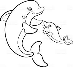 Coloring Pages Marine Wild Animals Mother Dolphin With Her Baby ...