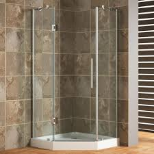 Bathroom Design Marble Tile Wall In Corner Shower Stalls With Glass