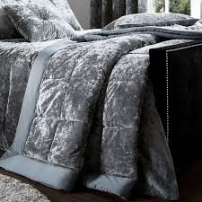 catherine lansfield luxury crushed velvet bedspread silver grey