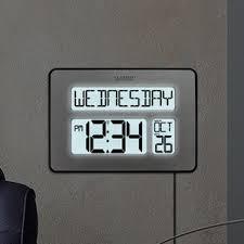 office large size floor clocks wayfair. Atomic Full Calendar Clock With Extra Large Digits Office Size Floor Clocks Wayfair
