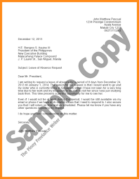 Vacation Leave Letter 9 Of Famous Captures Consequently Sample