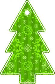 Illustrated image of a green christmas tree gift tag - Stock photo