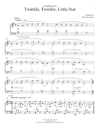 Twinkle Twinkle Little Star Recorder Finger Chart John Thompson Variations On Twinkle Twinkle Little Star Sheet Music Notes Chords Download Printable Educational Piano Sku 160640
