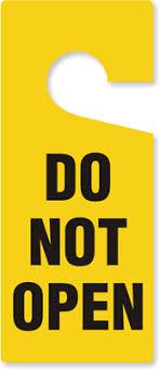 do not open plastic door hanger