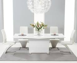 marila 150cm white high gloss dining table with 6 hereford white chairs me home furnishings