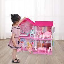 Nhà búp bê cỡ lớn cho bé - Đồ Chơi Lắp Ghép Ngôi Nhà Biệt Thự Búp Bê Xinh  Xắn Cho Bé Gái - Ngôi nhà búp bê Thương hiệu No brand