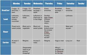 workout and food journal weekly exercise plan template