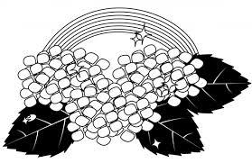 アジサイと虹白黒 無料イラスト素材素材ラボ