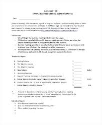 Meeting Of Minutes Format Monthly Meeting Minutes Format Generic Business Agenda Template
