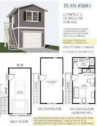 Carriage/Lane Way House Art Studio And VRBO On Top Floor.... Two Story 1  Car Garage Plan 588 1 By Behm Design
