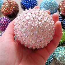 Decorated Styrofoam Balls All you need are styrofoam balls sequins and pins to make these 7
