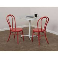 odessa solid red metal dining chair set of 2 solid red frosted black