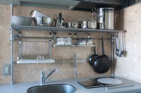 Steel Shelf For Kitchen Kitchen Nice Looking Organized Kitchen Space With Hanging