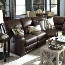 dark brown couch furniture wonderful classic style leather living room sectional sofa with recliner and wall pillows for brown leather couch