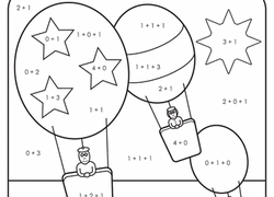 1st grade reading writing worksheet color by sum the great balloon race