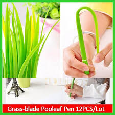 Novelty Grass Leaf Pen Creative Korean Stationery Grass-blade Pen Pooleaf  Ballpoint Pens Small Fresh Grass Blade Pen Free Shipping