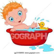 cartoon baby in a bath splashing wa