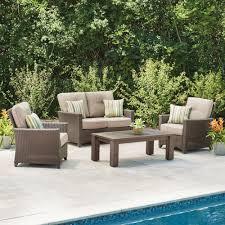 hampton bay tacana 4 piece wicker patio deep seating set with beige cushions