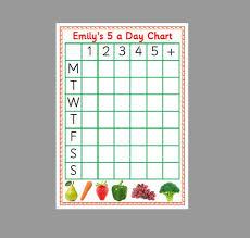 5 Day Reward Chart Childrens Reward Chart Healthy Eating 5 A Day Reusable Laminated Card Reward Chart Pre School Toddler Eyfs Kids Children