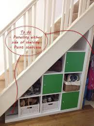 Materials: Expedit shelving unit (149 x 149 cm). Description: The under- stairs ...