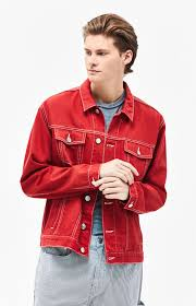 classic oversized red trucker jacket