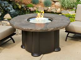 outdoor greatroom marbleized noche colonial height round gas fire pit table