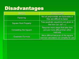 solving quadratic equations square root property math disadvantages mathematics vision project