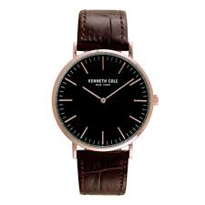 kenneth cole kc50507003 men s classic leather band black dial watch