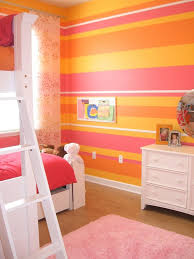 Bedrooms:Orange Bedroom With Orange Striped Wall And Orange Bed Also White  Modern Credenza Bright