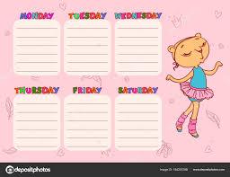 school schedule template cute school schedule template with cat girl vector printable