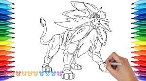 How To Draw Solgaleo Legendary Pokemon Sun Drawing Coloring Pages
