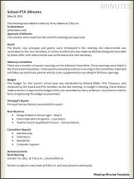 How To Write Meeting Minutes Example Of Meeting Minutes Template Business