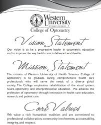 college of optometry vision statement mission statement and vision statement mission statement and core values of college of optometry