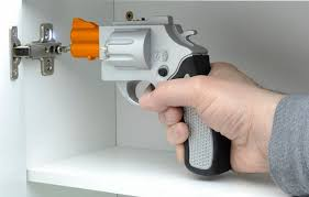 drill gun. the drill gun works like any electric screwdriver, punching starter holes, securing stuff to your walls and performing usual host of drilling duties