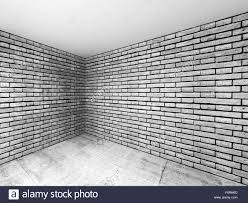 brick walls. Empty Room Interior With Gray Brick Walls And Concrete Floor, 3d Illustration Perspective Effect