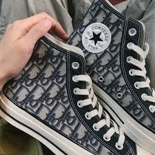 Dior x Converse Chuck Taylor All Star Hi 70 Black Dior Oblique Custom Shoes  Women Men Casual Sneaker | Converse chuck taylor, Chuck taylors, Converse