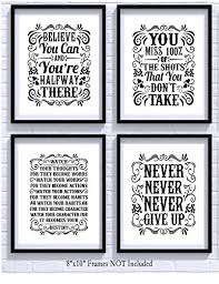 motivational inspirational quotes art prints 4 pack set of four photos 8x10 unframed classroom office home wall art inspire teen boy girl fitness  on motivational quotes for athletes wall art with motivational inspirational quotes art prints 4 pack set of four