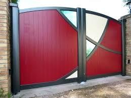 modern metal gate. Metal Garden Gates Modern Aluminum Red Color Glass  Panels Gate For Sale .