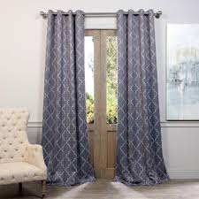 semi opaque seville grey and silver grommet blackout curtain 50 in