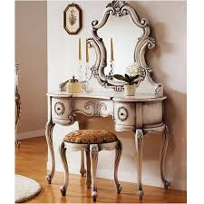bedroom glamor white vanity set with pleasant black accent color design also comfy seating chair