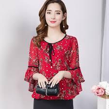 Summer Top <b>2019 Korean</b> Women Flare Sleeve Floral Print <b>Chiffon</b> ...