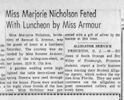 Marjorie Nicholson at party thrown for her by her sister-in-law to-be, Miss  Armour. - Newspapers.com
