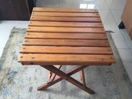 slatted top compact solid wood folding table