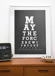 Star Wars Print Typography Art Poster Eye Chart May The