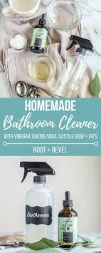 this homemade bathroom cleaner with vinegar baking soda castile soap and essential oils is