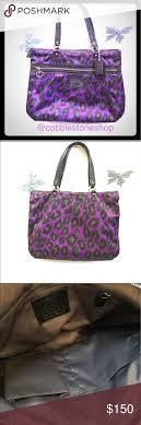 ... coach daisy ocelot print glam tote purple black purple black coach  f20048 daisy ocelot print glam