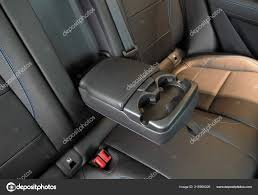 leather trimmed folding armrest cup holders rear seats vehicle stock photo