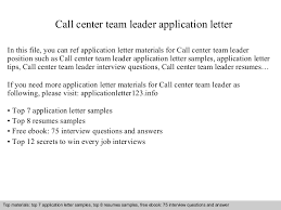 sales team leader cover letter callcenterteamleaderapplicationletter 140904195046 phpapp01 thumbnail 4 jpg cb 1409860273