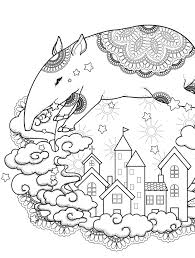 Strange Nightime Scene Free Printable Adult Coloring Page Coloring
